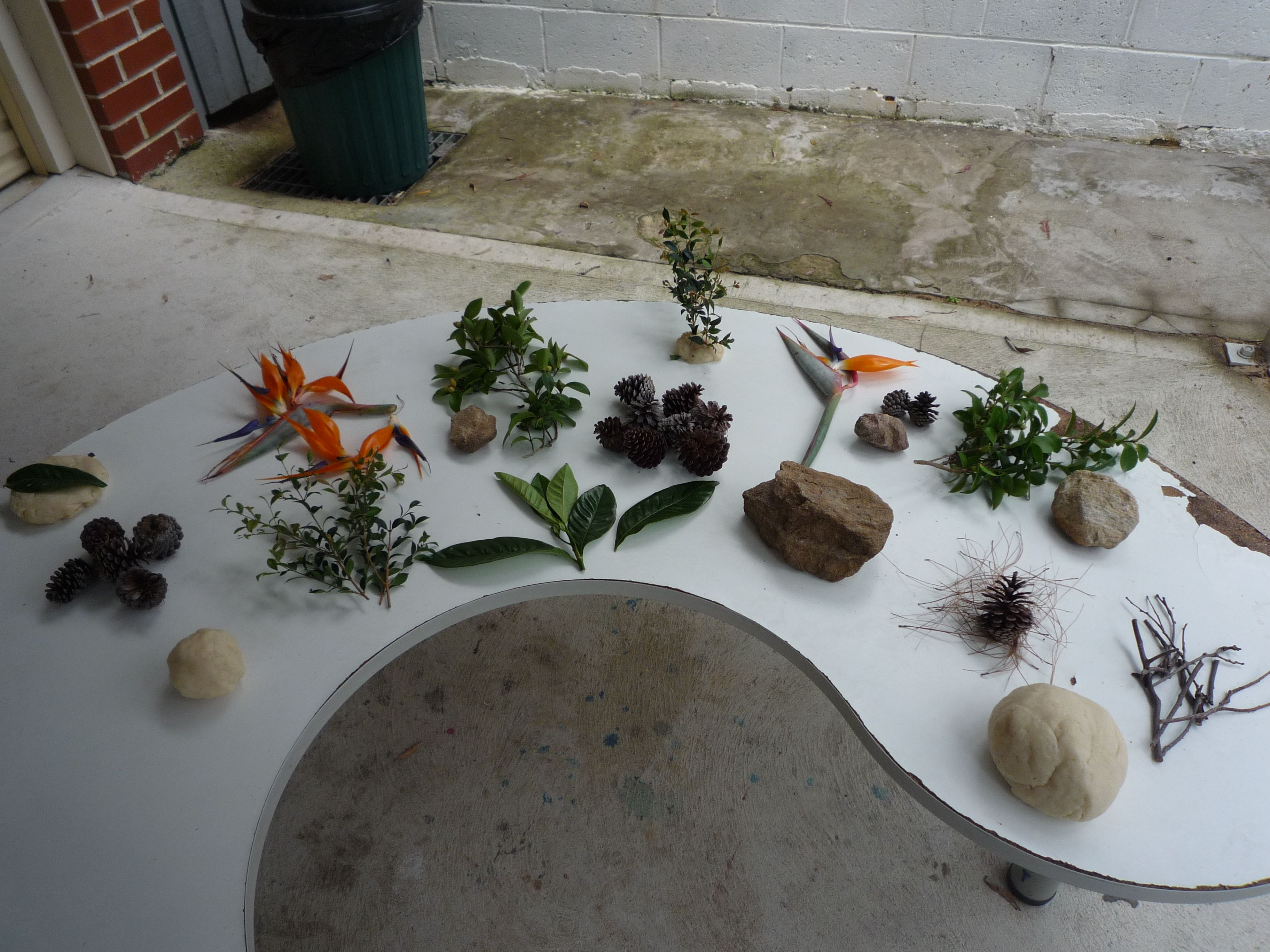 Create a natural experience for the children with easy to find materials from the garden. Add some homemade play dough and Voila! See their imagination expands.