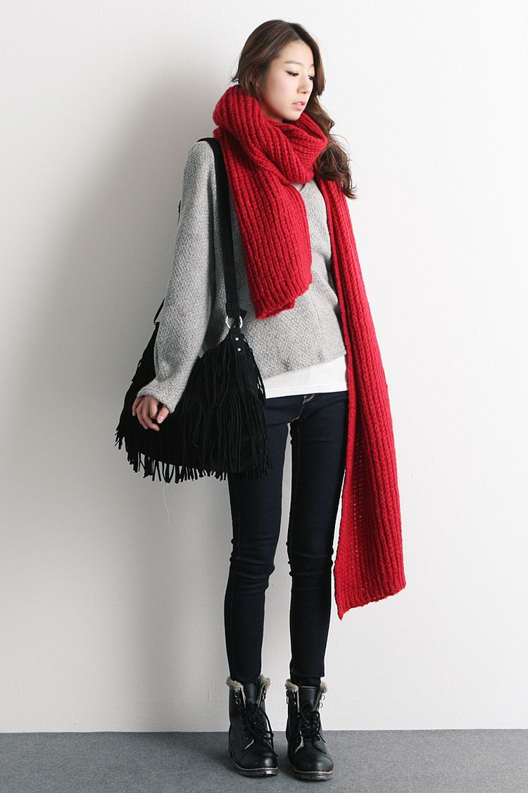korean winter fashion i love red red scarf jeans grey. Black Bedroom Furniture Sets. Home Design Ideas