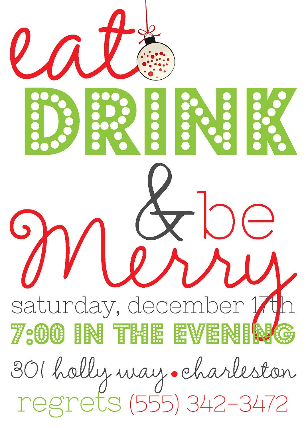 Eat, Drink and Be Merry Holiday Party Invite (20 printed