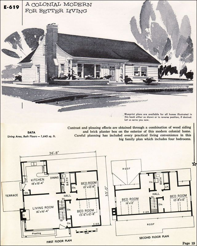 Mid Century Modern House Plans 1955 Modern Colonial National