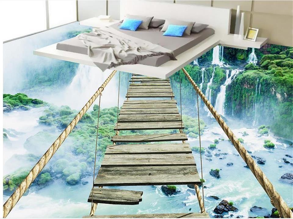 3d Flooring Wallpaper Custom Photo Bed Room Mural Waterfall Rope Bridge Landscape 3d Painting Pvc Self Adhesive Floor W Bodenmalerei Tapeten Farben Und Tapeten