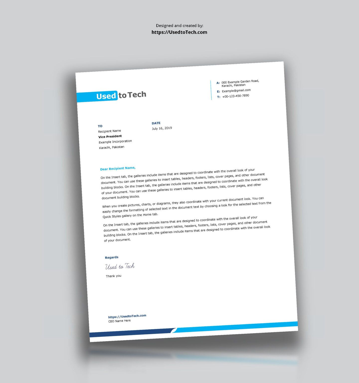 Simple And Clean Word Letterhead Template Free Used To Tech Pertaining To Word Stati Letter Template Word Free Letterhead Template Word Letterhead Examples