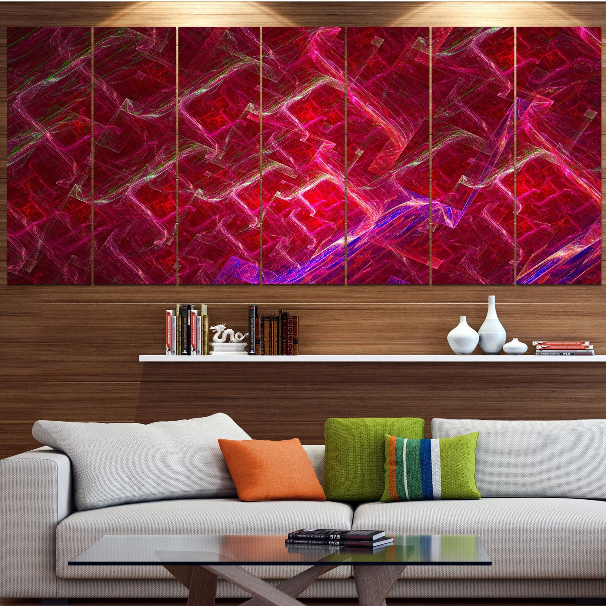 Designart ured fractal electric lightningu abstract art on canvas