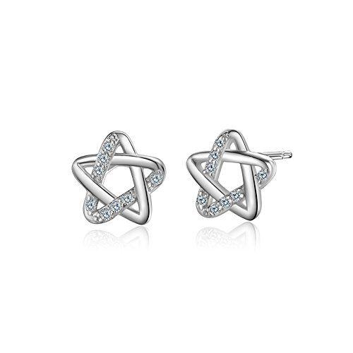 WHCREAT Star-shaped 925 Sterling Silver Earrings Studs for Women Girls, 5A Cubic Zirconia Earrings Jewellery for Wife/Girlfriend/Daughter