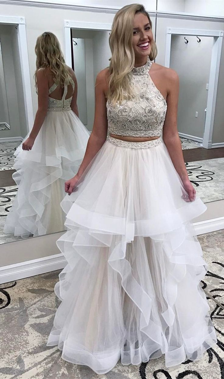 Wedding dress high neck open back  Two Piece High Neck Open Back White Tiered Prom Dress with Beading
