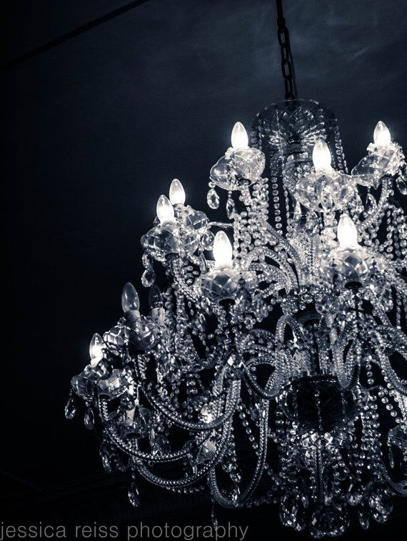 Black And White Grand Chandelier Art Print By Jessicareisspix