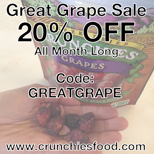 GRAPE CRUNCHIES ARE ON SALE!!! Sale lasts through the end of July using the code GREAT GRAPE!