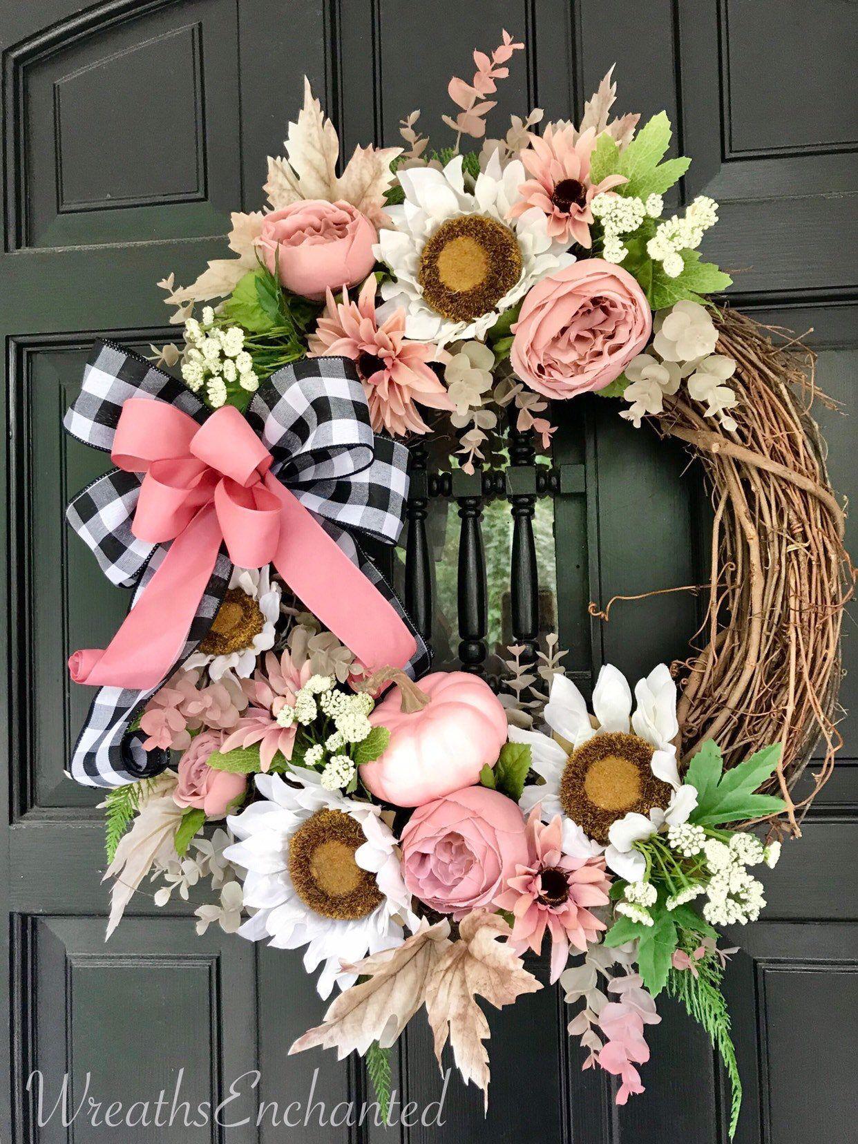Photo of Fall Wreath Front Door Wreath Blush Pink Wreath White Sunflower Wreath Farmhouse Wreath Buffa …