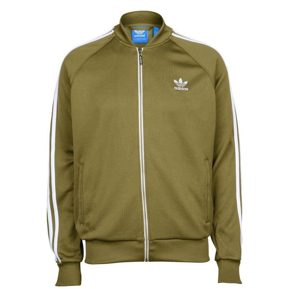 6413d1e4 adidas Originals Logo Super Star SST Track Top Olive Green Full Zip Mens  Jacket