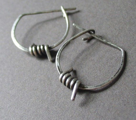 Hoop Earrings, Barbed Wire, Sterling Silver, Unisex - Anti ...