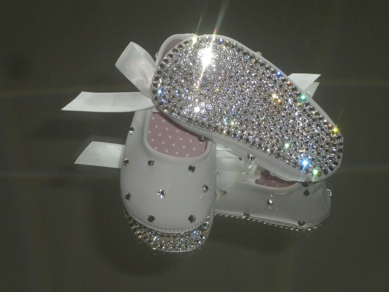 2dabf12e5b1b03 Popular items for rhinestone baby shoe on Etsy Christening Shoes