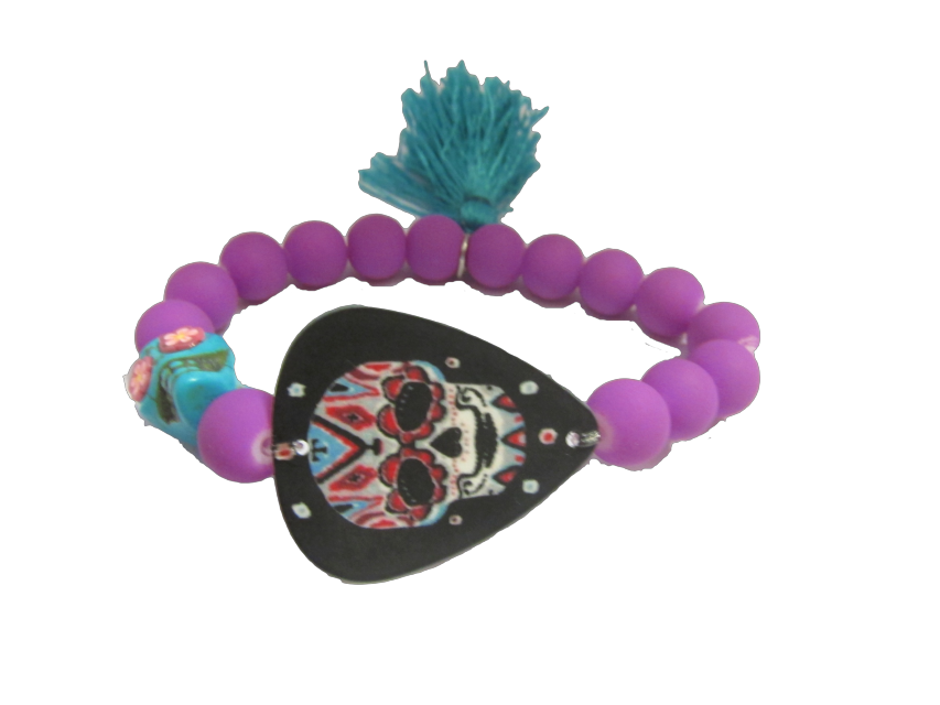 Skull Bracelet Beaded Kids Jewelry Tassel Skull Purple Blue Fashion Childrens Outfit Ideas