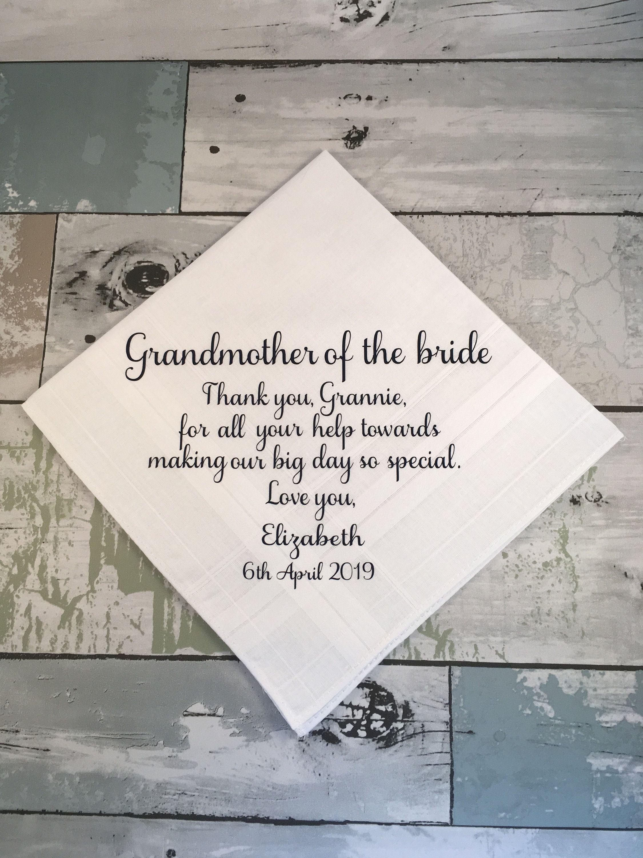 Gift For Grandmother On Wedding Day Grandparents Wedding Gift Personalized Wedd Wedding Gifts For Parents Wedding Day Gifts Personalized Handkerchief Wedding