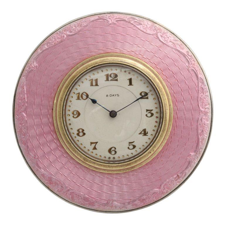 Art Deco Sterling Silver And Pink Enamel Eight Day Clock Pink Clocks Art Deco Clock Art