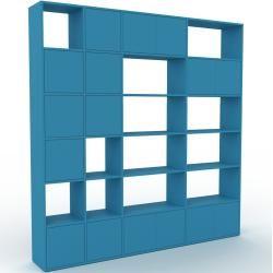Photo of Wohnwand Blau – Individuelle Designer-Regalwand: Türen in Blau – Hochwertige Materialien – 229 x 233