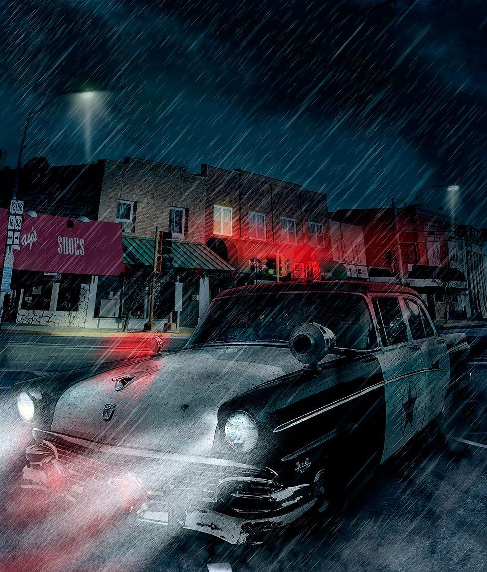 Retouch, night, Photoshop, Photomanipulation, Design, police, car, The Black Dahlia, rain, murder,