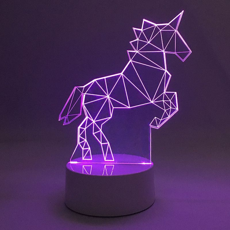 3d Led Acrylic Unicorn Lamp Light Optical Illusion Bedroom Decor Unicorn Decorations Unicorn Lamp Unicorn Bedroom