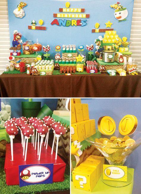 Me encanta el fondo de esta mesa de postres para una fiesta Super Mario Bros. #FiestaInfantil