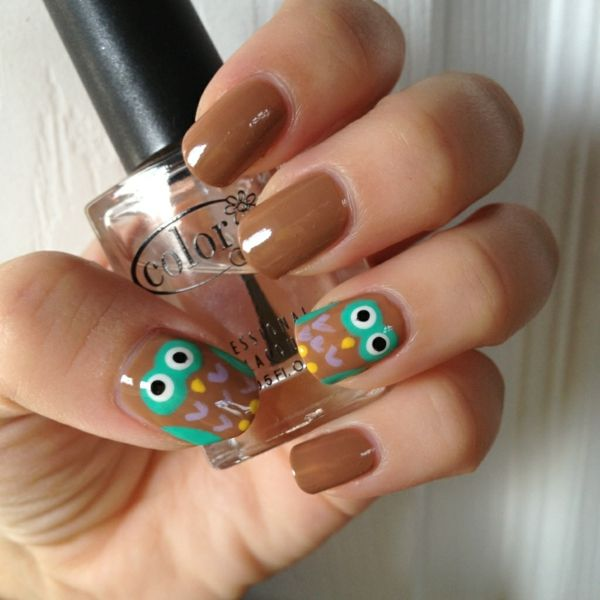 nageldesign muster fingerngel design eulen - Nagel Muster Selber Machen