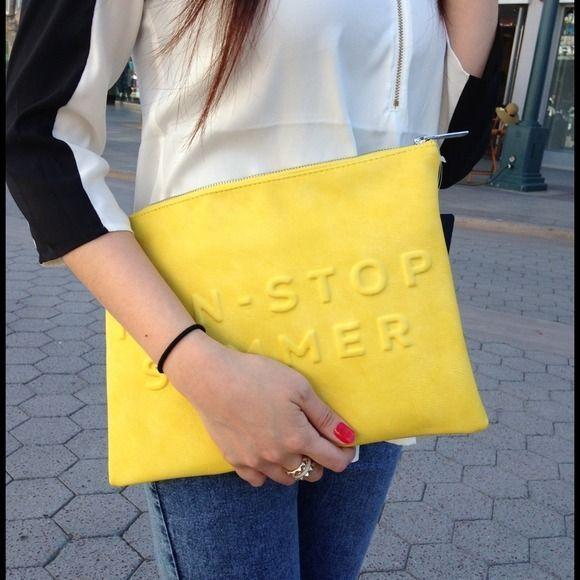 Zara yellow clutch 'non-stop summer'