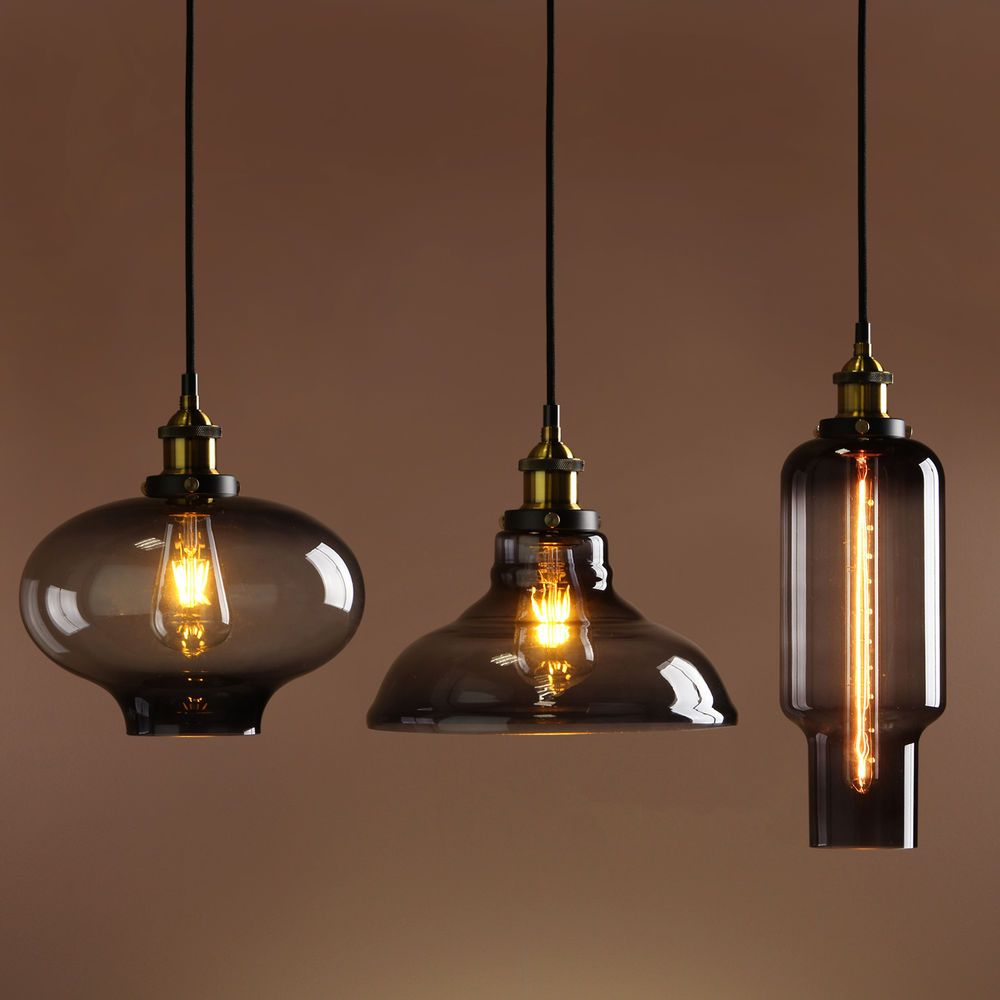 Vintage Industrial Glass Pendant Light: Retro Vintage Industrial Smokey Glass Shade Loft Pendant