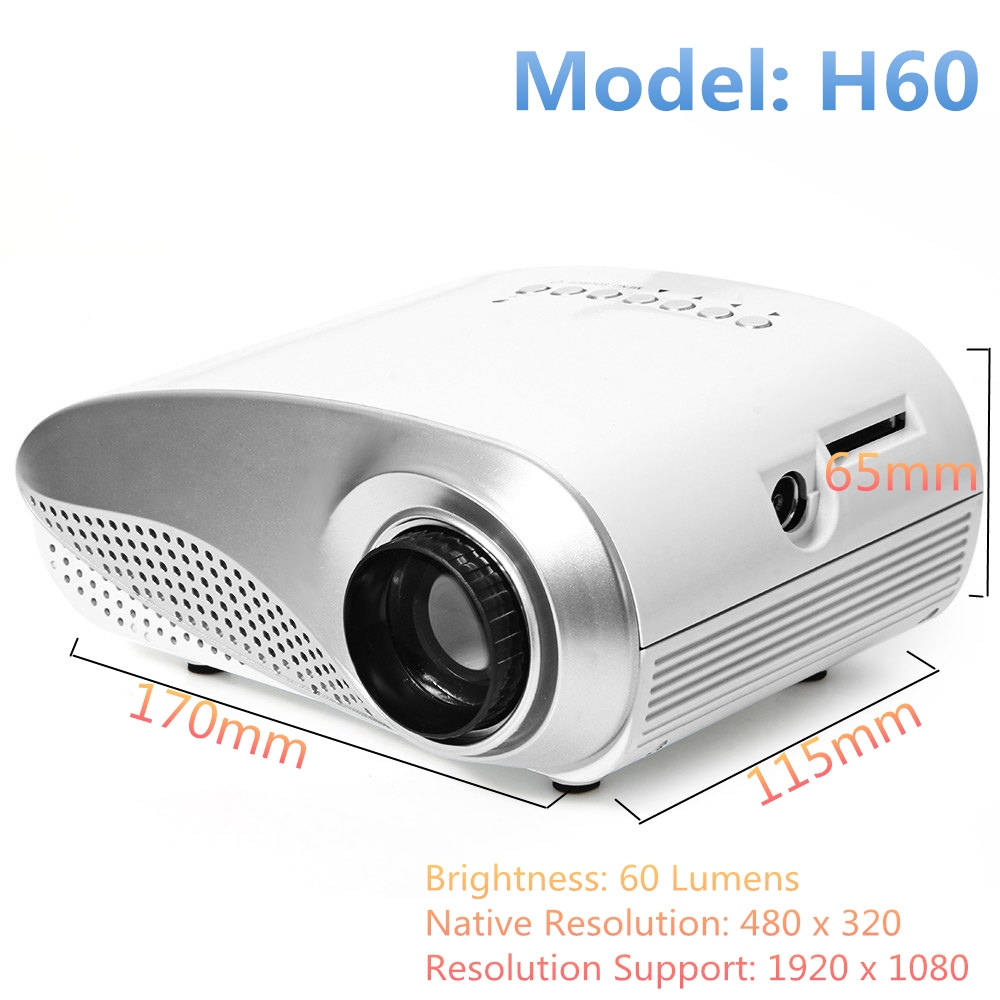 48.99$  Buy now - http://ali9g8.shopchina.info/1/go.php?t=32673975441 - Protable Mini H60 LCD Projector 60 Lumens16:9 Aspect Ratio Supports HDMI USB VGA IR SD Card beamer Same with Excelvan RD-802  #buyonlinewebsite