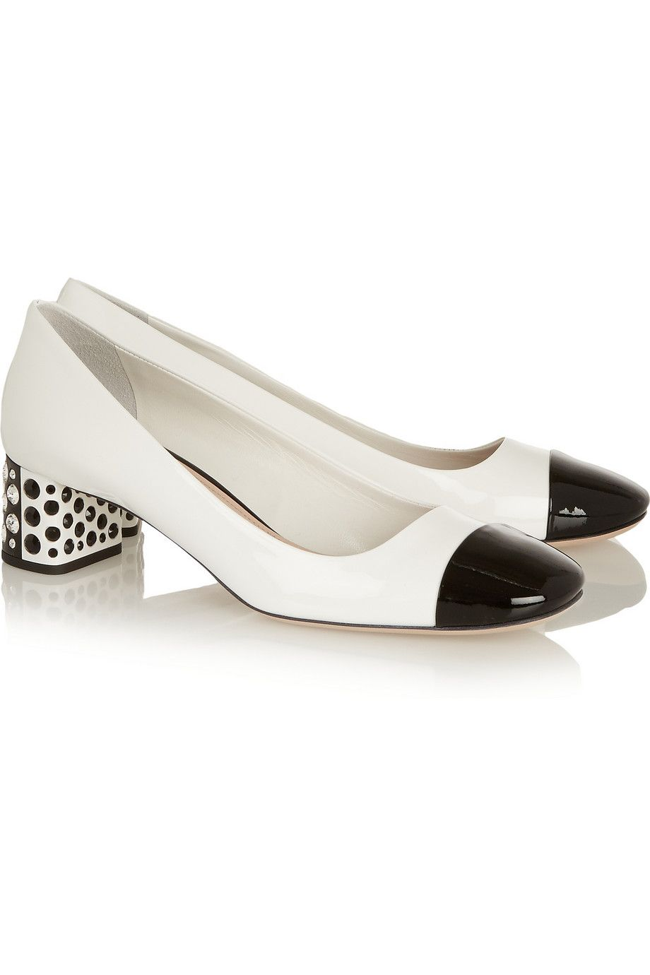 Miu Miu Black Patent Leather Crystal Embellished Heel Peep
