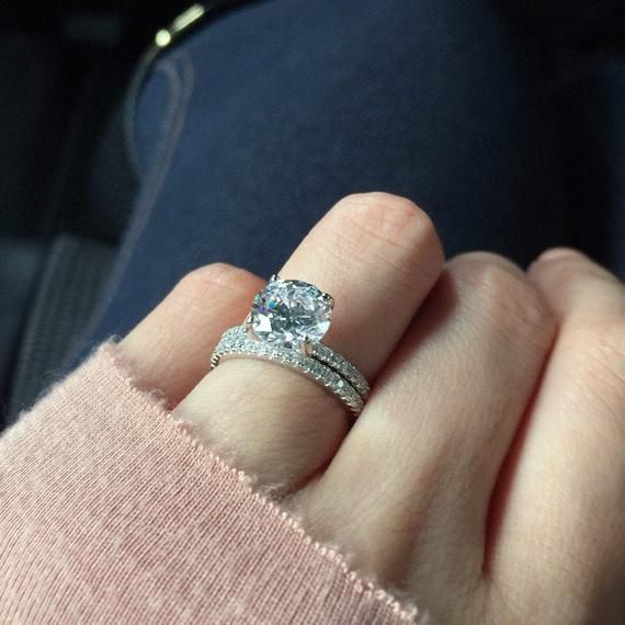 2.25 ctw 4 Prong Round Accented Solitaire Bridal Set Pave   Etsy