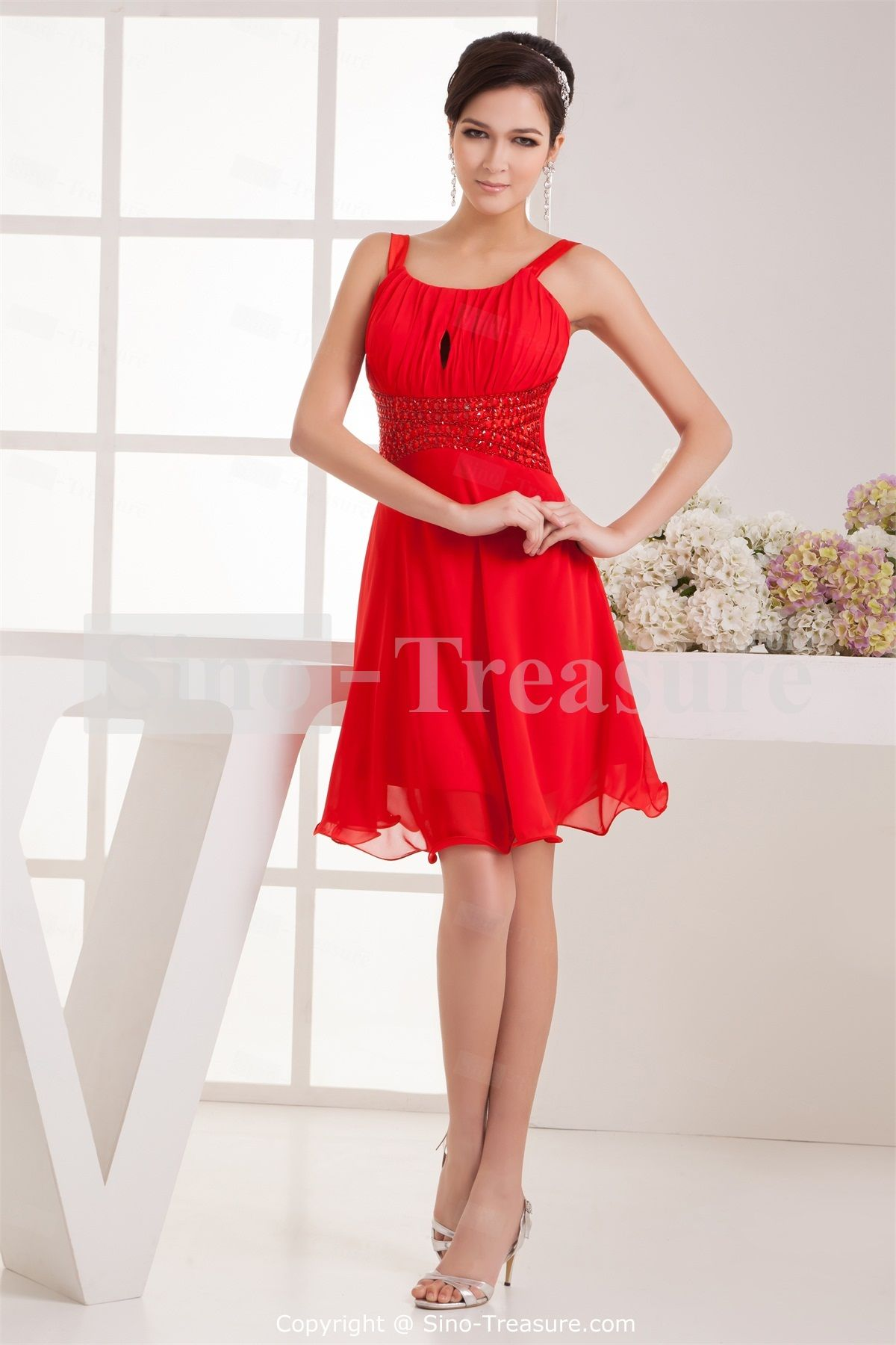 red dresses for women | Red Short Chiffon Elastic Woven Satin ...