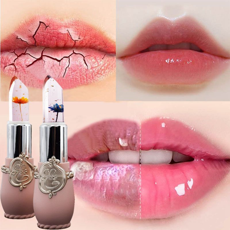 Flower Lipstick Moisturizer Transparent Jelly Long Lasting Make Up Waterproof Red Lip Balm Stick Te