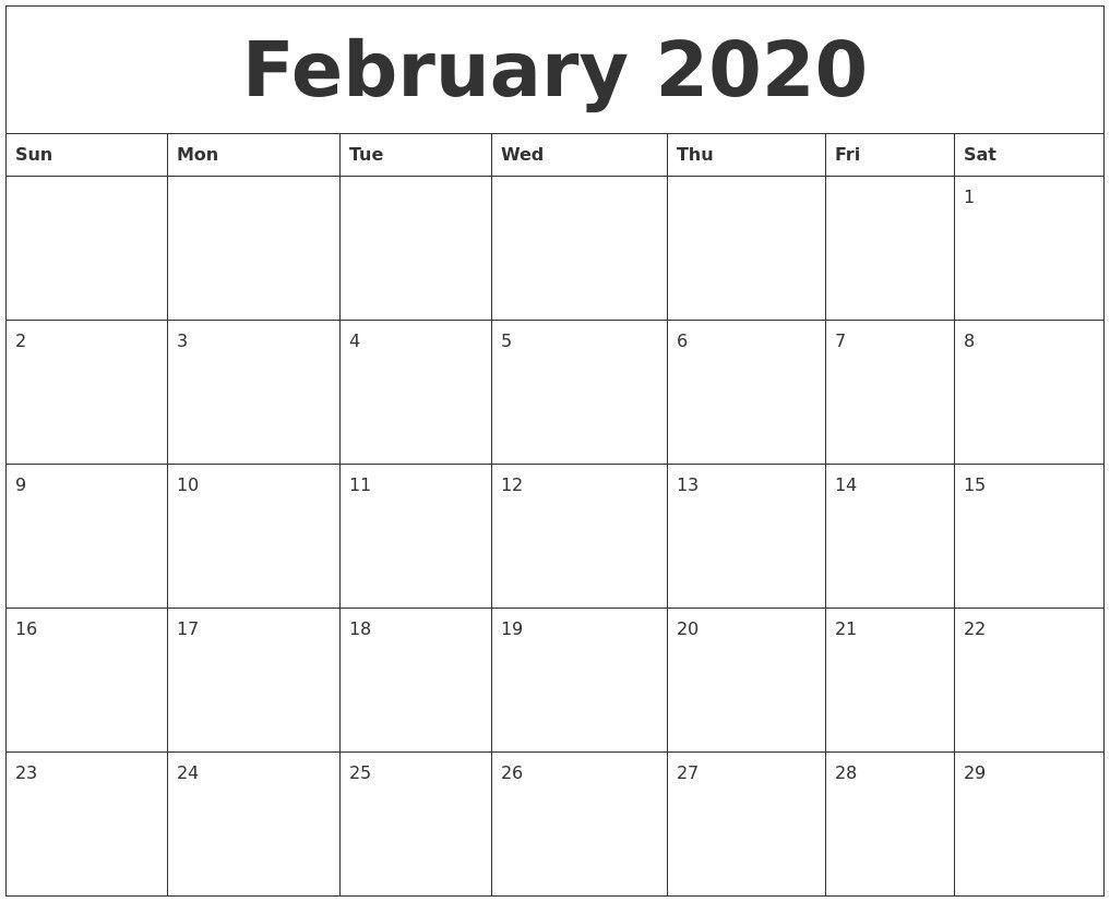 Great Pics February 2020 Calendar Ideas Monthly Calendar Printable