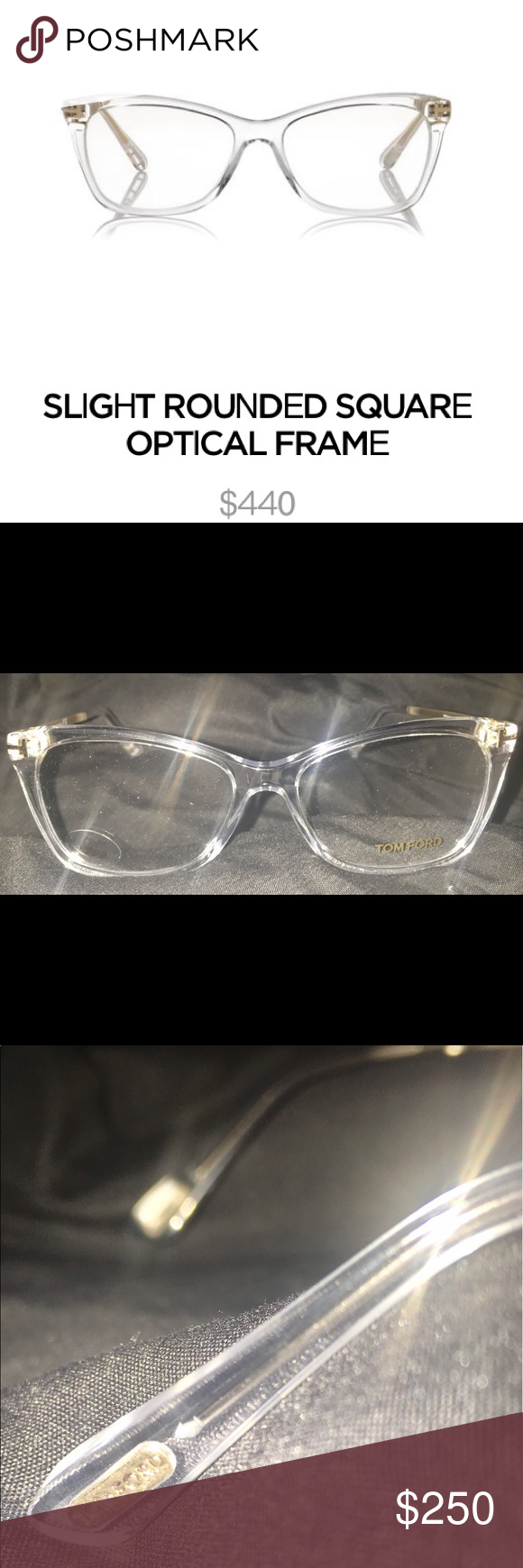7a6ab8f36e44 TOM FORD SLIGHT ROUNDED SQUARE OPTICAL FRAME 100% AUTHENTIC SHINY CLEAR    SHINY GOLD METAL