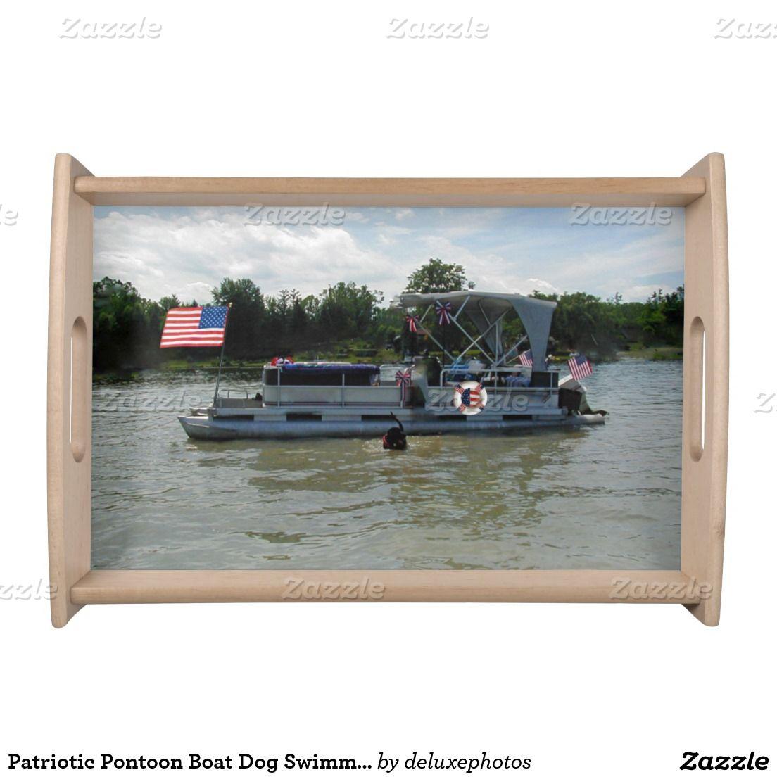 Patriotic Pontoon Boat Dog Swimming Tray Food Trays