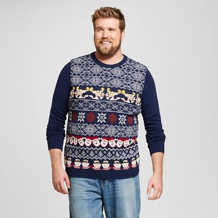 Men's Big & Tall Light-Up Ugly Holiday Sweater Fair Isle Gray ...