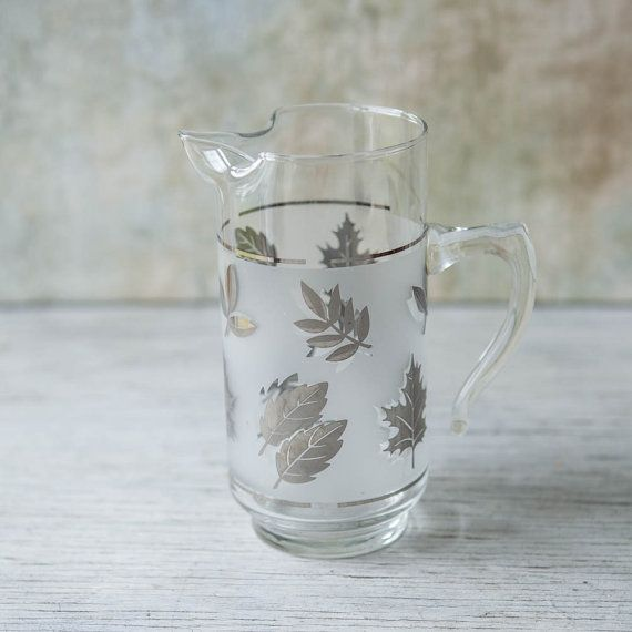 Libbey Silver Leaf Frosted Glass Pitcher by ...