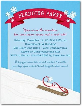 Sledding Playdate Play Date Ideas Holiday Party Invitations