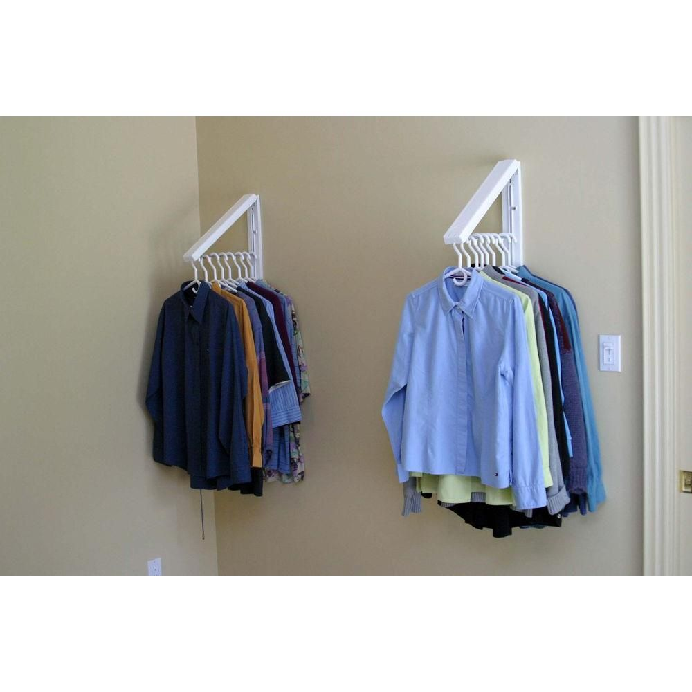 QuikCLOSET 60 in  White ABS Plastic Collapsible Wall Mounted Clothes Hanging System Closet Rod (3Piece) is part of Hanging Clothes Ideas - Create 3 ft  to 5 ft  of extra closet or drying space anywhere with this Collapsible WallMounted Hanging Rack  Versatile and weatherresistant, it includes two InstaHANGER bars that fold flat to less than 2 in  Extend both and connect the telescoping closet rod to create a closet capable of holding up to 100 lbs  Ideal for temporary or permanent clothes storage, it also works great in the laundry room or outdoors for hanging clothes or swimsuits to dry  Color White