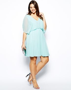 ASOS CURVE Skater Dress With Angel Sleeve