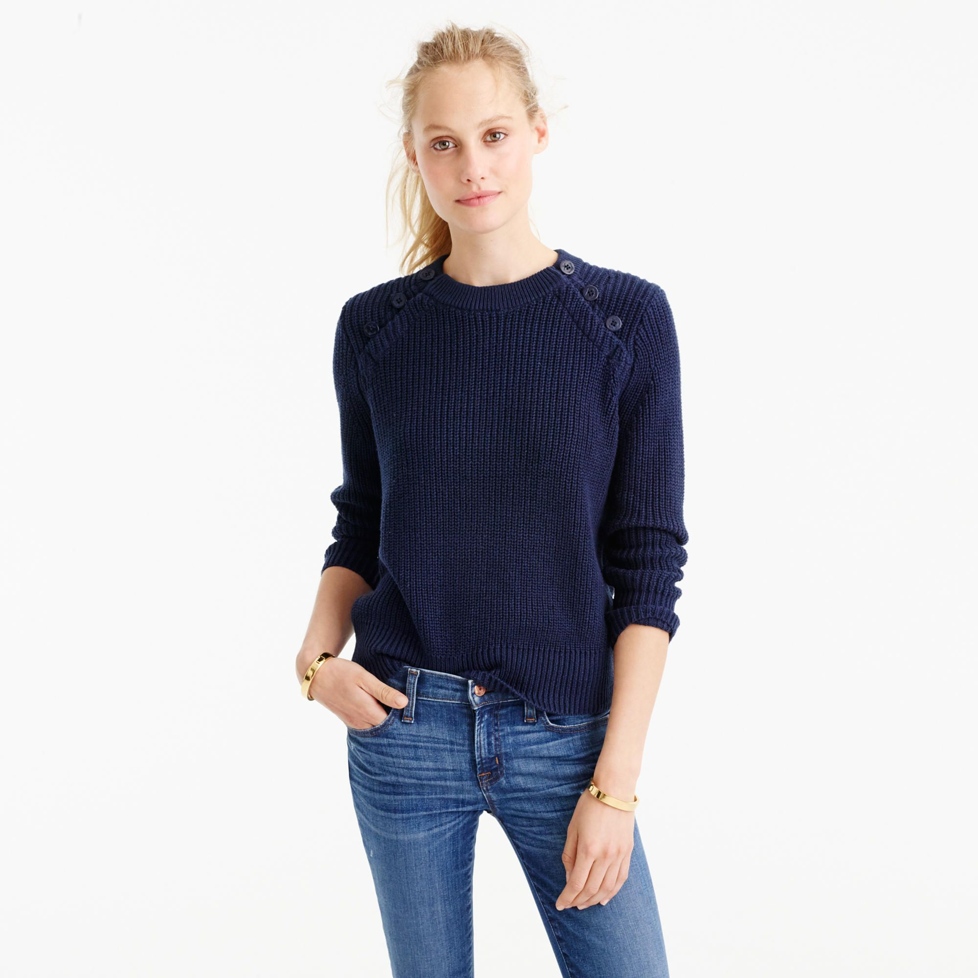 J.Crew Womens Textured Cotton Sweater With Anchor Buttons (Size ...