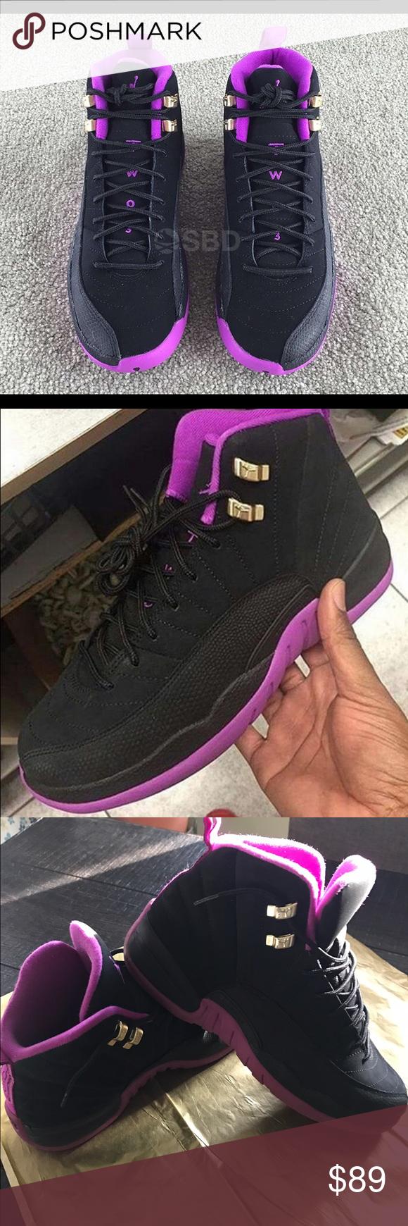 c583db42abf Jordan 12 sneaker size 9y, men's 9.5 women 11 Dressed in a Black, Metallic