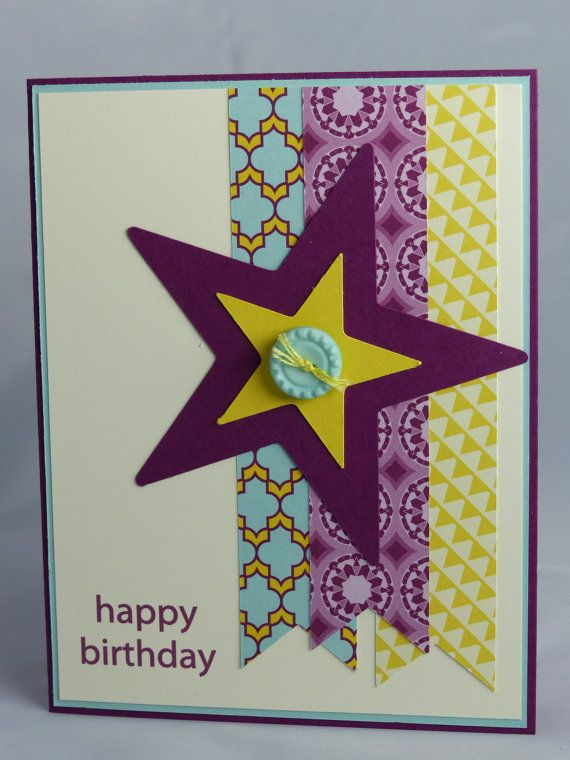 Stampin Up Handmade Greeting Card Happy Birthday Masculine Husband Father Brother Son Grandfather Teen Nephew Star