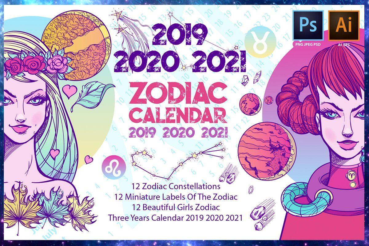 Zodiac Calendar 2019 2020 2021 Aff Years Set Unique Calendar Ad Zodiac Calendar Zodiac Calendar