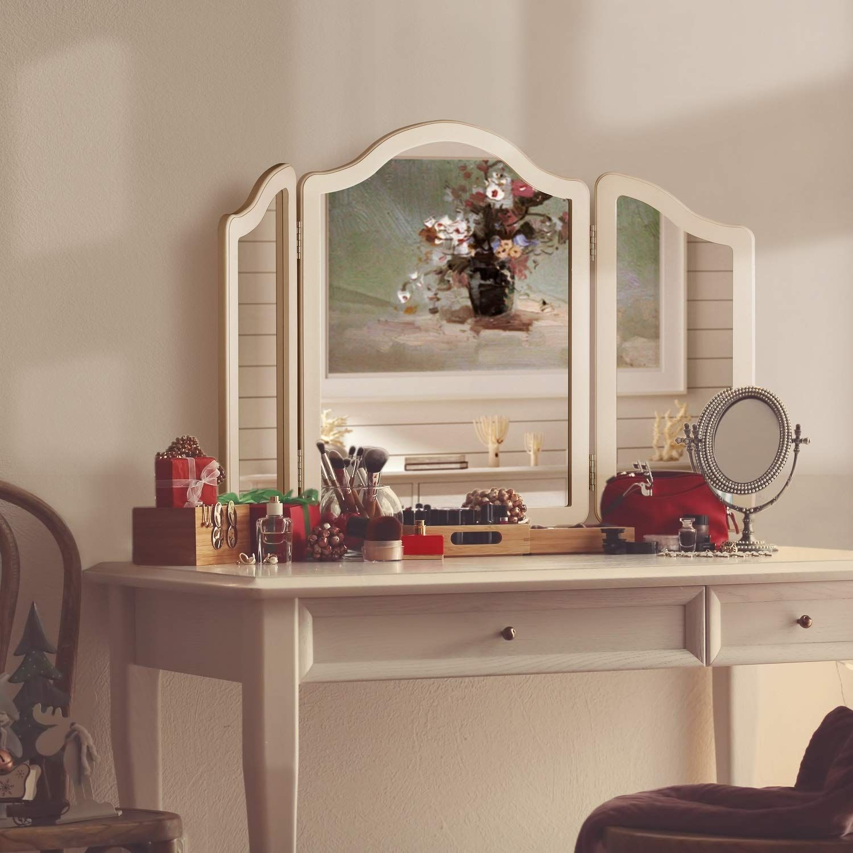 LUXFURNI Hollywood Large Vanity Trifold Makeup Mirror, 3