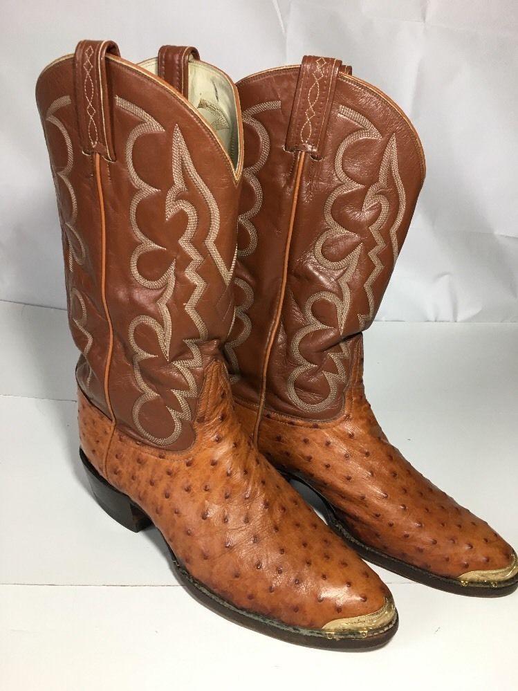 0208579fbfd Tony Lama El Rey Full Quill Ostrich Western Cowboys Boots Good ...
