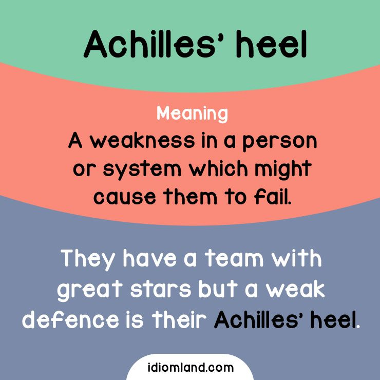 Idiom of the day Achilles\u0027 heel Meaning A weakness in a person or