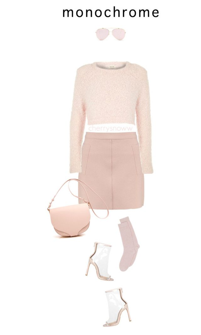 """Monochrome"" by cherrysnoww ❤ liked on Polyvore featuring Dark Pink, River Island, Pepper & Mayne, monochrome and Pink"