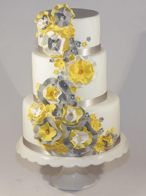 yellow \u0026 grey ruffle wedding cake