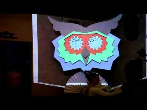 Night Club installation. Projection mapping onto a 3-D owl
