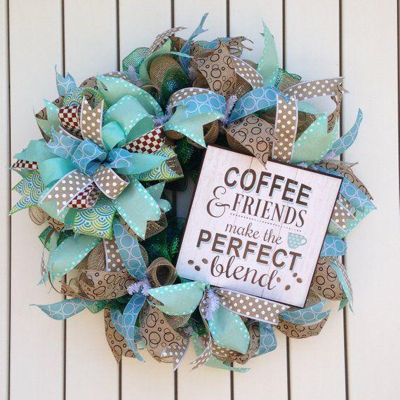 Photo of Friendship Wreath, Coffee Wreath, Coffee and Friends Wreath, Blue and Brown Wreath, Front Door Wreath, Coffee Nook Wreath, Friends Wreath
