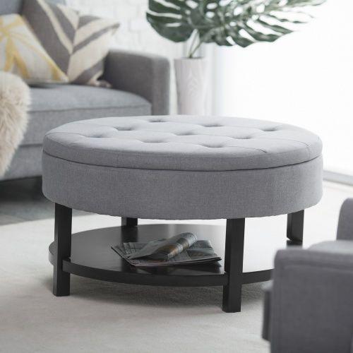 Belham Living Coffee Table Storage Ottoman with Shelf - Gray ...